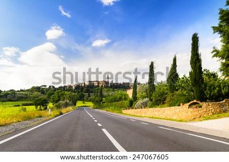 view of Pienza and Tuscany landscape, Toscana, Italy - stock photo