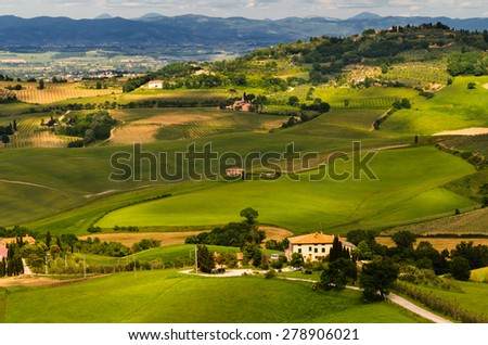 view of Pienza, province of Siena, Val d'Orcia in Tuscany, Italy - stock photo