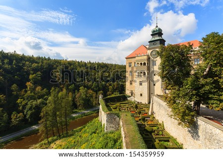 View of Pieskowa Skala Castle, medieval building near Krakow, Poland