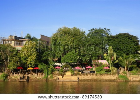 view of Ping river, Chiang Mai city, Thailand - stock photo