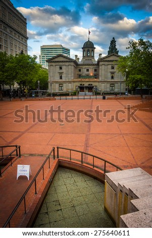View of Pioneer Courthouse Square, in Portland, Oregon. - stock photo