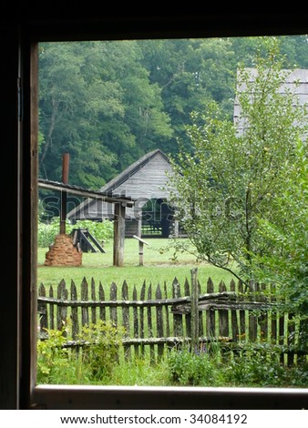 View of Pioneer Farm from House - stock photo