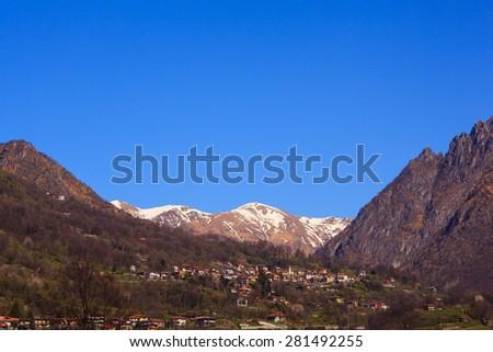 View of Pizzo di Gino mountain from Porlezza, Como. Italy - stock photo