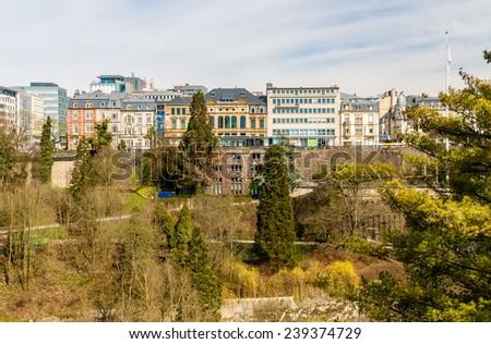 View of Place de la constitution - Luxembourg city - stock photo