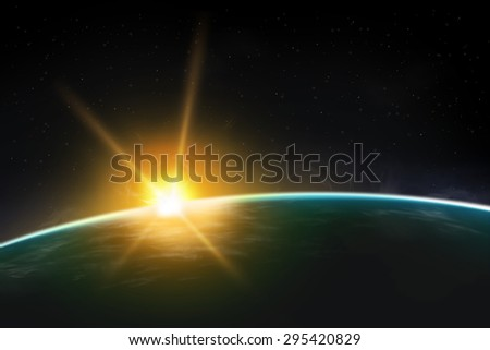 View of planet sunrise / sunset. Beautiful universe realistic illustration. Planet wallpaper. - stock photo