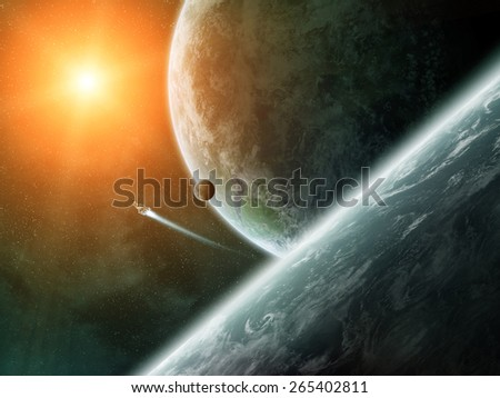 View of planets from space during a sunrise - stock photo