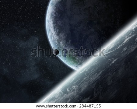 View of planets from space during a sunrise 'elements of this image furnished by NASA' - stock photo