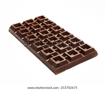 View of plate of brown bitter chocolate - stock photo