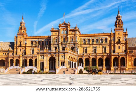 View of Plaza de Espana in  day time at Sevilla.  Andalusia, Spain