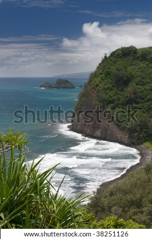 View of Pololu beach from trail lookout, north shore of the Big Island, Hawaii - stock photo