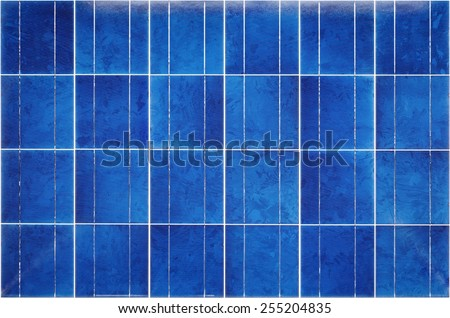 View of polycrystalline photovoltaic cells in a solar panel - stock photo