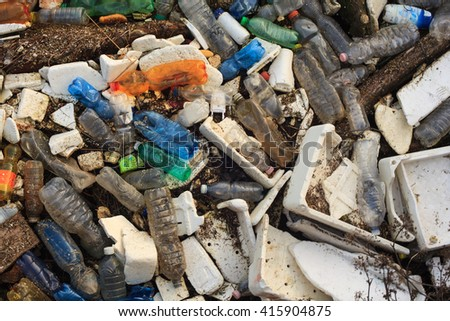 View of polystyrene , plastic bottles and other domestic garbage