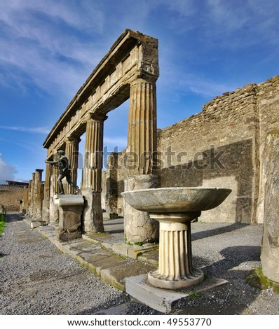View of Pompeii ruins. Italy. It was destroyed and buried during a catastrophic eruption of the volcano Mount Vesuvius on 24 August 79 AD. - stock photo