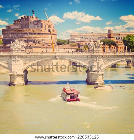 view of Ponte Vittorio Emanuele II and Castel Sant'Angelo, Rome, Italy - stock photo