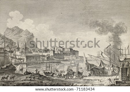 View of port of Palermo, Italy. By Chatelet and Paris, published on Voyage Pittoresque de Naples et de Sicilie,  J. C. R. de Saint Non, Imprimerie de Clousier, Paris, 1786 - stock photo