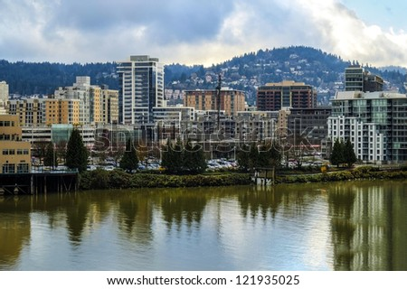 View of Portland, Oregon and Willamette River - stock photo