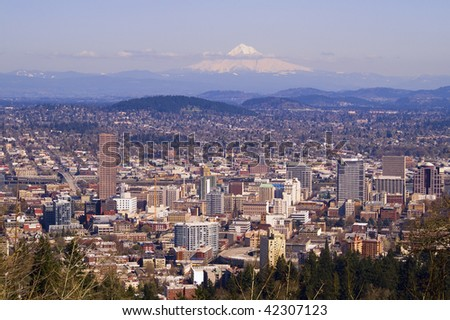 View of Portland, Oregon from Pittock Mansion. - stock photo
