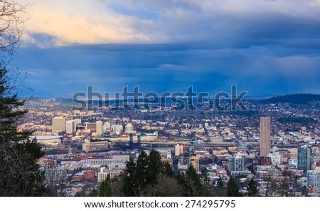 View of Portland, Oregon from Pittock Mansion during the Golden Hour - stock photo