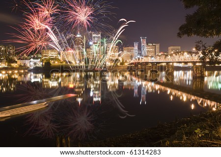 View of Portland Oregon, USA during a Fireworks Show. - stock photo