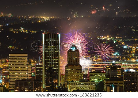 View of Portland Oregon, USA from Pittock Mansion during a Fireworks Show. - stock photo