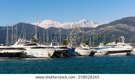 View of Porto Montenegro in winter. Tivat city, Montenegro