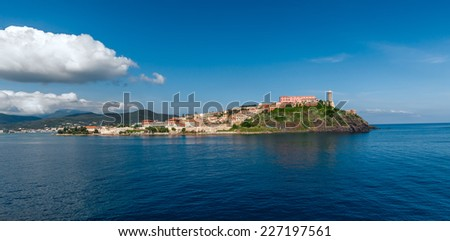 View of Portoferraio old city, with the Forte Stella and the Napoleon Villa. Islend of Elba, Livorno, Italy. - stock photo