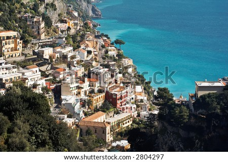View of Positano, a town in the Amalfi's coast in Italy. UNESCO World Heritage Site - stock photo