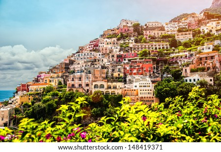 View of Positano. Positano is a small picturesque town on the famous Amalfi Coast in Campania, Italy. - stock photo