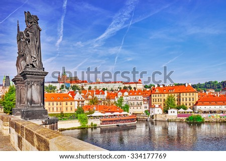 View of Prague Castle from Charles Bridge.Czech Republic. - stock photo