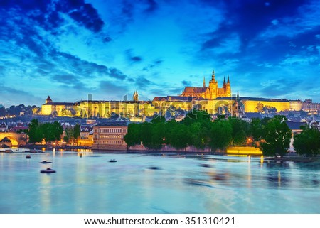 View of Prague Castle from waterfront  Vltava river in Prague.Czech Republic.  - stock photo