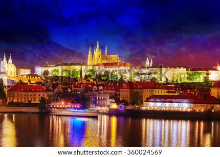 View of Prague Castle from waterfront  Vltava river in Prague.Czech Republic.  - stock photo