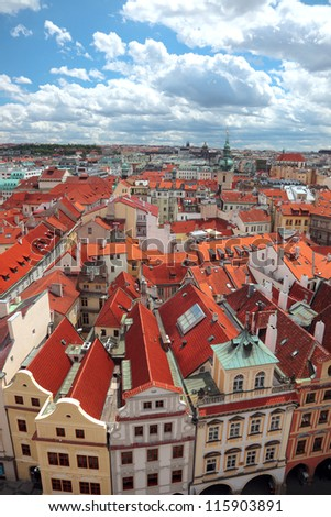 View of Prague from a tower balcony - stock photo