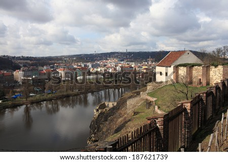 View of Prague from Vysehrad fortress in spring