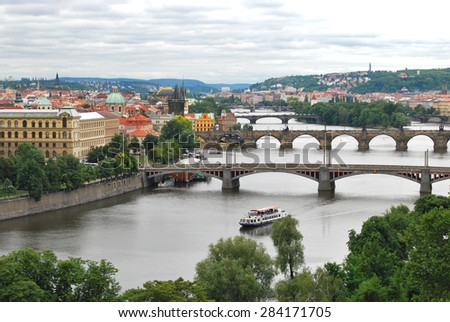 View of Prague in Cloudy Day - stock photo