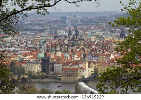 View of Prague old city center from Petrin Hill  - stock photo