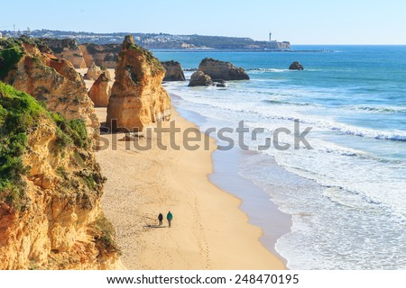 View of Praia da Rocha in Portimao, Algarve region, Portugal - stock photo