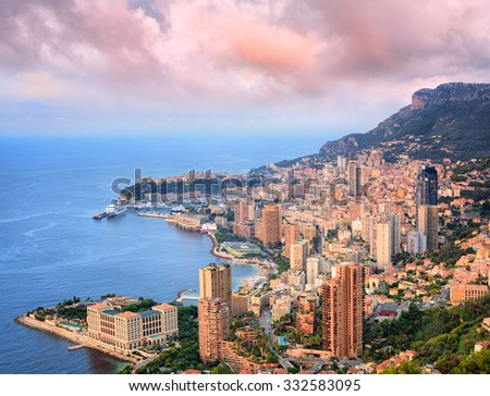 View of Principality of Monaco at sunrise