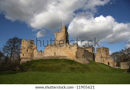 View of Prudhoe Castle from the west - stock photo
