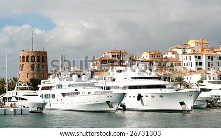 View of Puerto Banus harbour, in Marbella, Spain - stock photo