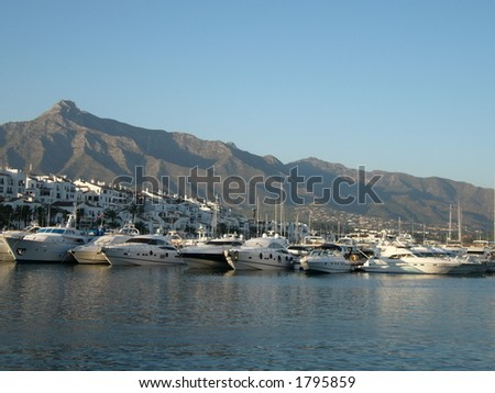 view of puerto banus harbour, puerto banus, spain, costa del sol - stock photo