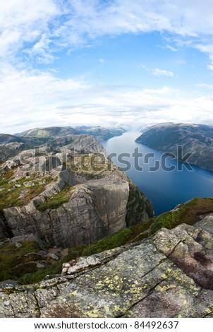 View of pulpit Rock in Norway - stock photo