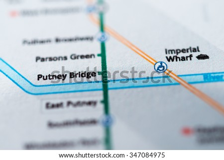 View of Putney Bridge station on a London underground map - stock photo
