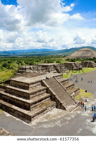 View of Pyramids in Teotihuacan in Mexico. With a beautiful sky - stock photo