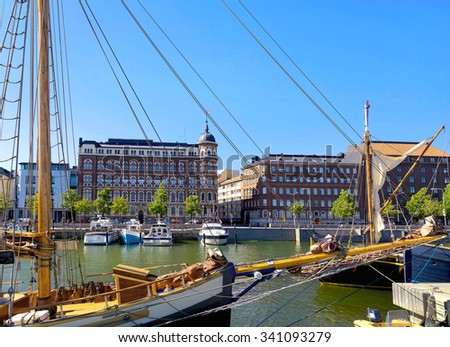 View of quay and buildings on embankment in old town. Helsinki, Finland - stock photo