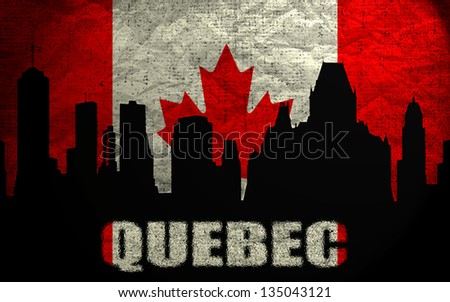View of  Quebec on the Grunge Canadian Flag - stock photo