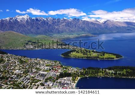 View of Queens Town and Lake Wakatipu, New Zealand - stock photo