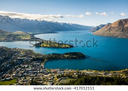 View of Queenstown and Lake Wakatipu, New Zealand  - stock photo