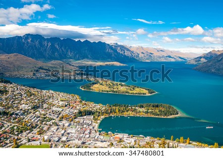 View of Queenstown and The Remarkables, Queenstown New Zealand  - stock photo