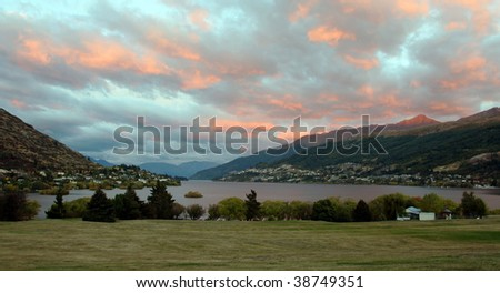 View of Queenstown, New Zealand at sunrise - stock photo