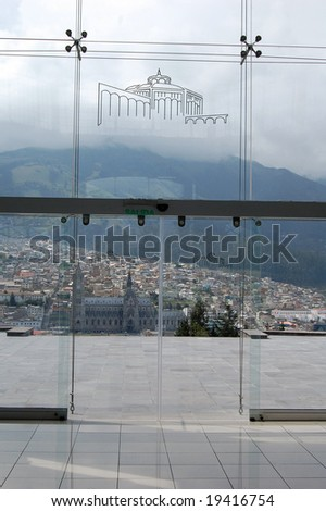 View of Quito inside the cultural center at the Itchimbia Park. - stock photo